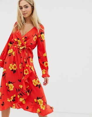 Wednesday's Girl - Robe portefeuille mi-longue à fleurs
