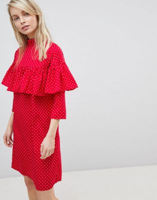 Image 1 of Wednesday's Girl Shift Dress With Ruffle Layer In Ditsy Spot