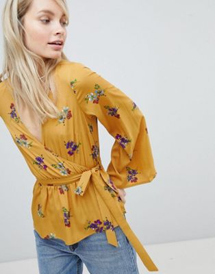 Wednesday's Girl Wrap Blouse With Waist Tie In Floral Bunch Print