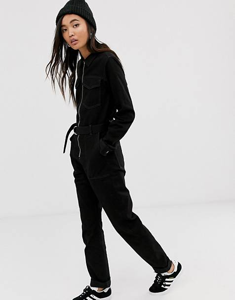 Weekday belted boilersuit in black