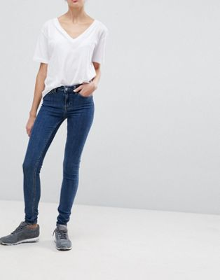 Weekday Body Super Stretch Skinny Mid Wash Denim Jean
