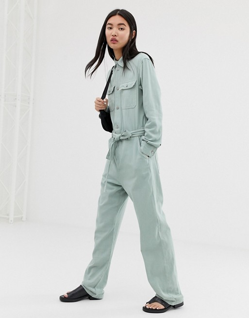 Image 1 of Weekday boiler suit with tie waist in mint