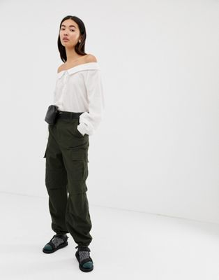 Image 1 of Weekday cargo pants in khaki green