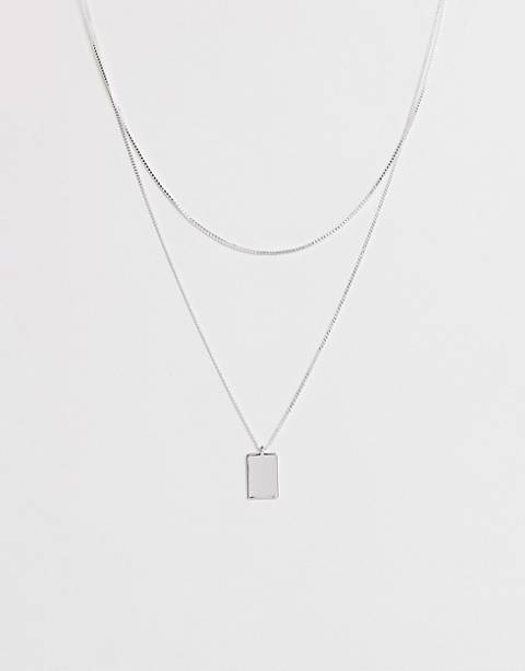 Weekday chain necklace with square pendant in silver
