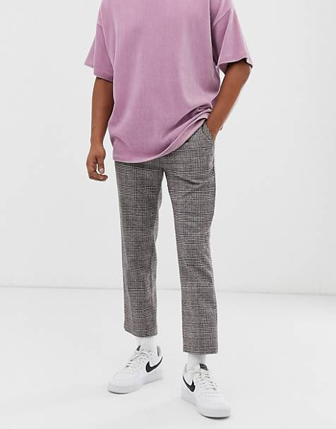 Weekday Charlie check pants in beige/gray