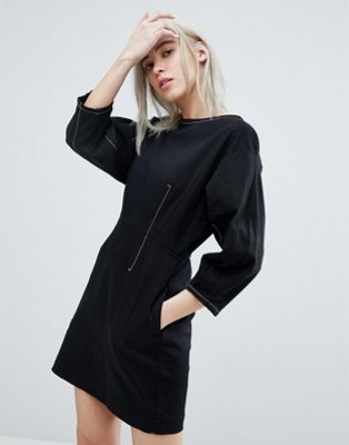 Weekday Contrast Stich Mini Dress