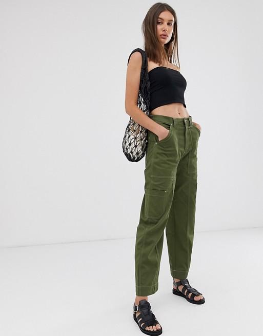 Weekday contrast stitch cargo pants in khaki green