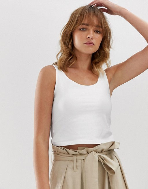 Weekday cropped singlet top in white
