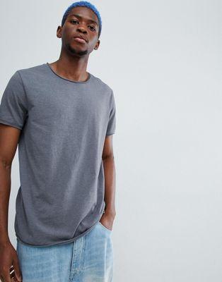 Weekday dark raw edge t-shirt in grey
