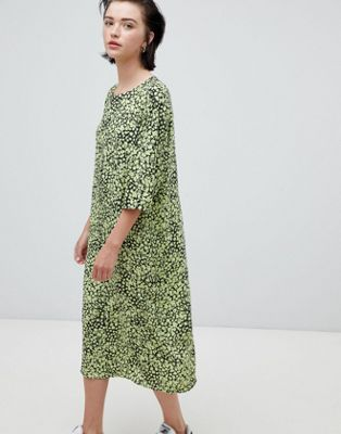 Weekday floral bell sleeve midi dress in floral print