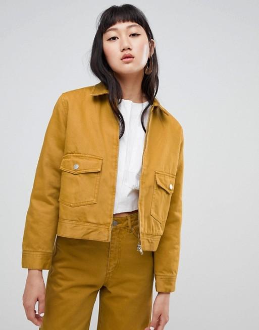 Weekday – Jeansjacke mit Reißverschluss-Detail, Kombiteil