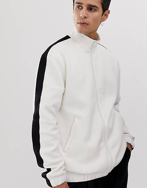 Weekday Lee zip sweatshirt in white