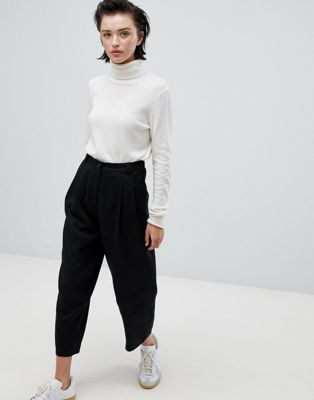 Weekday lightweight pleat front trousers in black