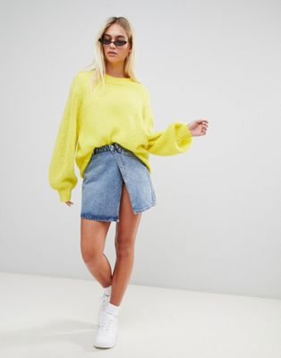 Image 1 of Weekday limited collection wrap denim mini skirt