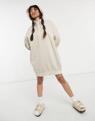 Weekday Erina mini smock dress with peplum hem in khaki - ASOS Price Checker