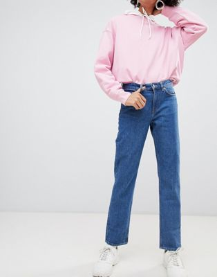 Image 1 of Weekday Mid Rise Slim Straight Jean in Organic Cotton