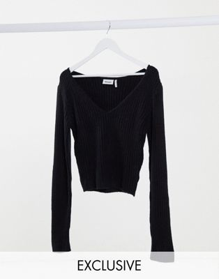 Weekday Paolina v-neck top in black