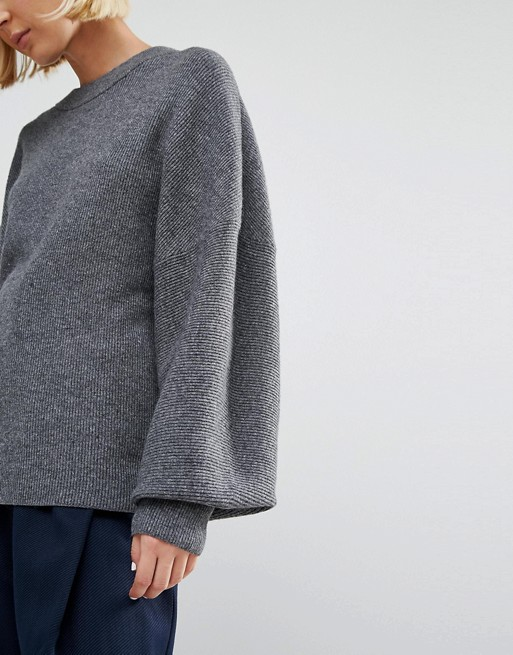d389ddbc6042e2 Weekday Rib Knit Sweater with Balloon Sleeve Detail | ASOS