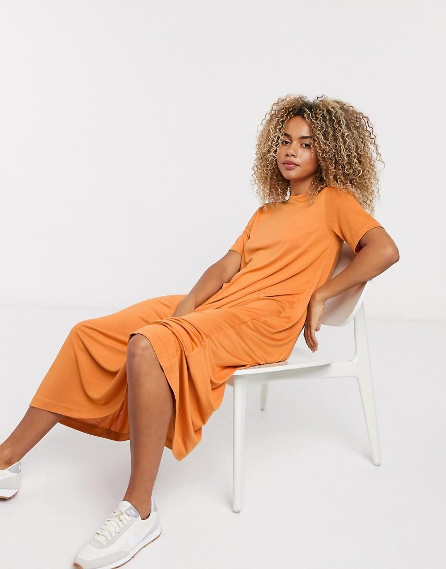 Weekday - Samira - Rustorange stram T-shirt-kjole