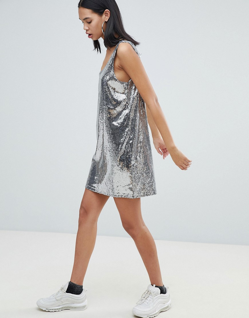 Weekday Sequin Dress In Silver Sequin by Weekday