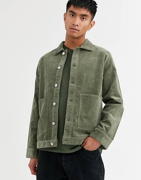 Weekday Shore cord jacket in green
