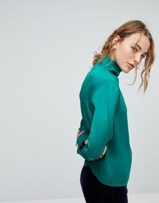Image 1 of Weekday Slinky High Neck Blouse