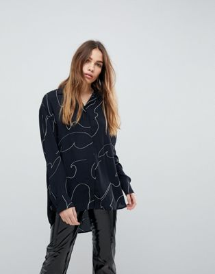 Weekday Squiggle Print Shirt
