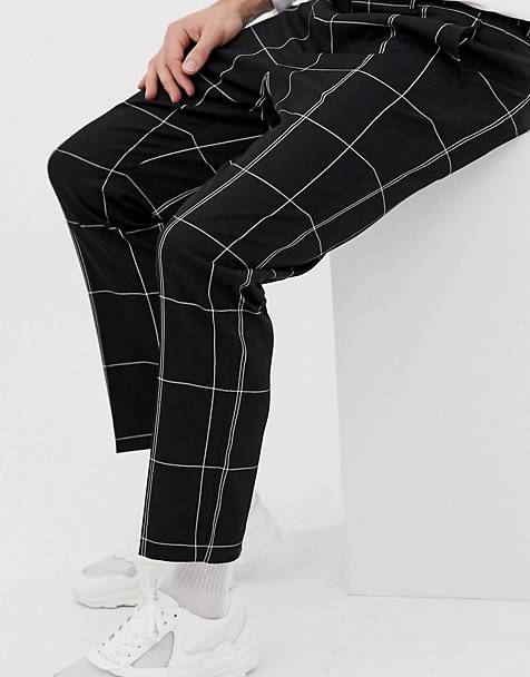 Weekday tailored pants in black and white check