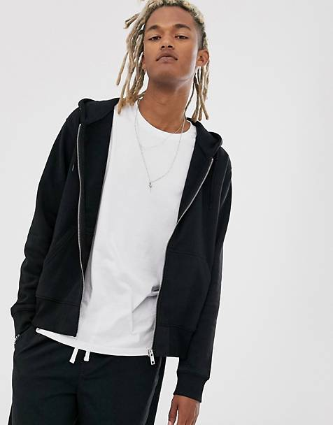 Weekday Tom zip hoodie in black