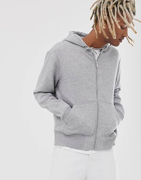 Weekday Tom zip hoodie in gray