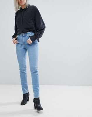 Weekday Way High Waist Slim Leg Jean With Raw Hem