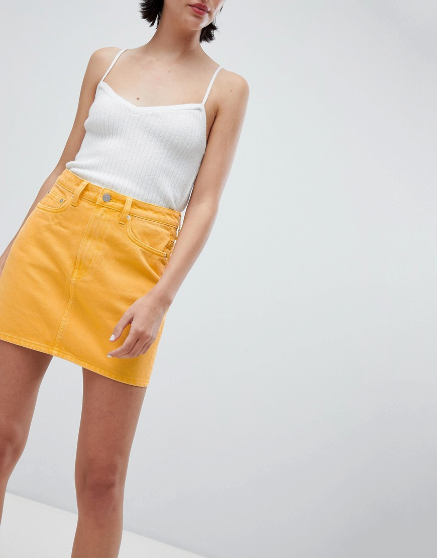 Weekday Wend Denim Mini Skirt In Yellow by Weekday