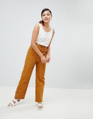 Weekday wide leg cargo pant with hammer loop detail