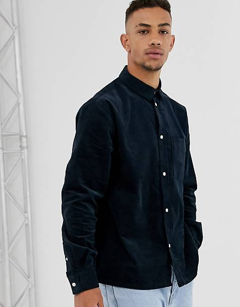 Weekday Wise cord shirt in navy