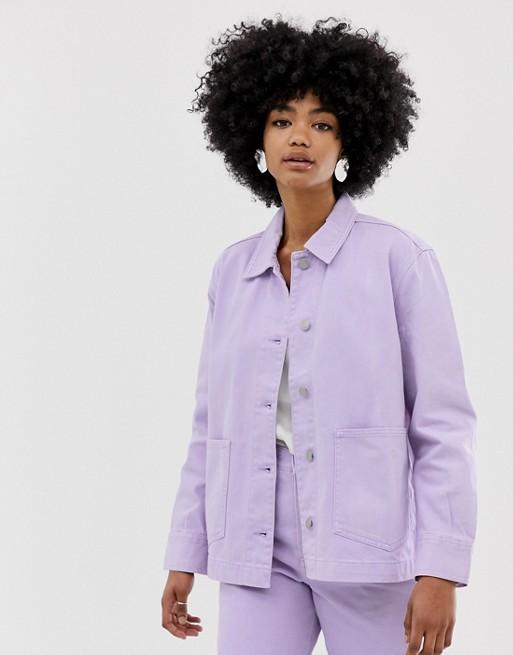 Image 1 of Weekday worker denim jacket in lilac