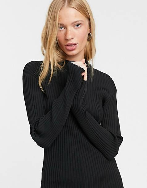Weekday Zion ribbed knitted jumper with mock neck in black