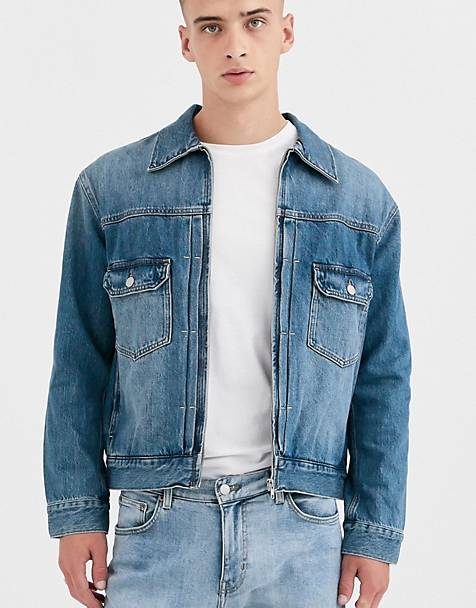 Weekday zip denim jacket in indigo blue