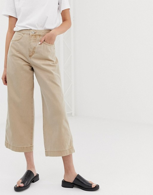 Image 1 of Weekday zip pocket front wide leg jeans in sand