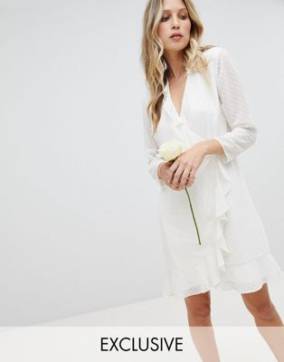 Whistles Exclusive Bridesmaids Ruffle Wrap Mini Dress