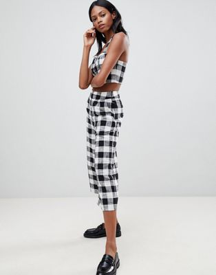 Whistles Gingham Linen Mix Trousers