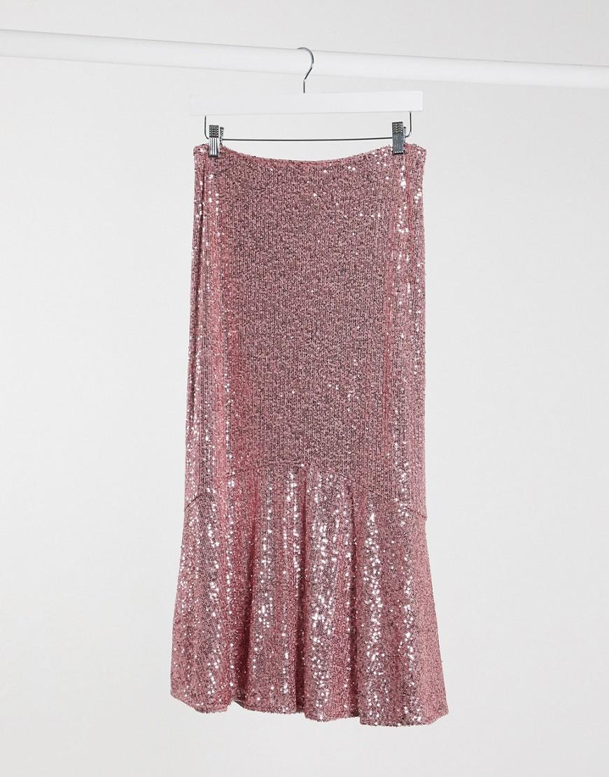 Image of Whistles - Gonna midi rosa con paillettes