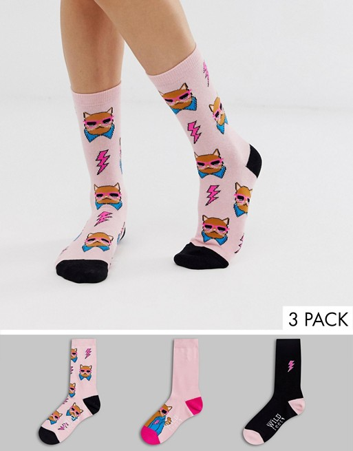 Image 1 of Wild Feet Cool Cat crew 3 pack socks in pink
