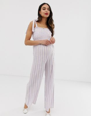 Image 1 of Wild Honey Maternity jumpsuit with shirred bodice in stripe
