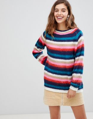 Willow & Paige fluffy knit sweater in stripe