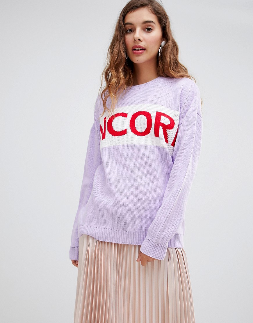 Willow & Paige Oversized Sweater With Encore Slogan by Willow & Paige