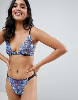 Image 1 of With Love Lilly floral embroidered triangle bralette in blue