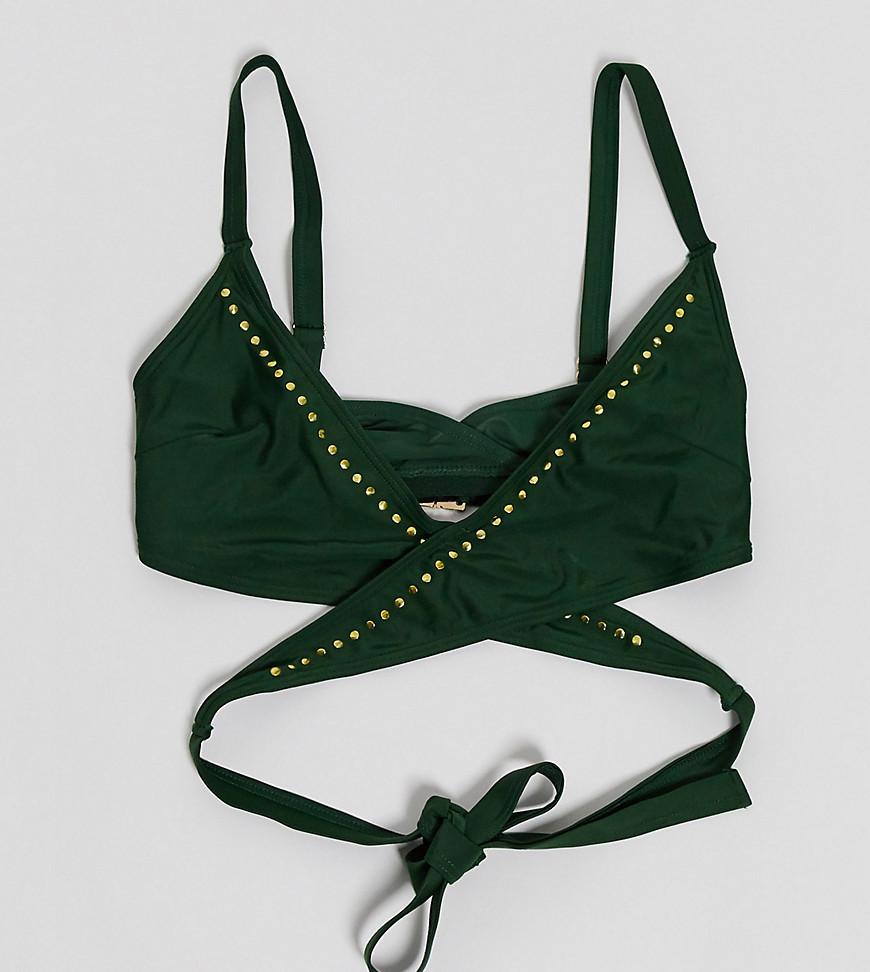 Wolf & Whistle— Exclusive Eco — Grøn bikinitop med større skål og nitter