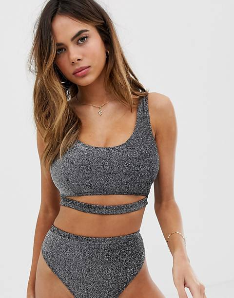 Wolf & Whistle Fuller Bust Exclusive cut out crop bikini top in silver glitter
