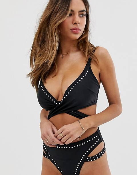 Wolf & Whistle Fuller Bust Exclusive Eco studded wrap bikini top in black