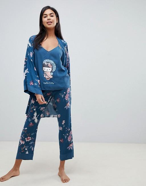 ce260d9ea Women'secret Hello Kitty Japan cami top long pyjama set with kimono in  green | ASOS